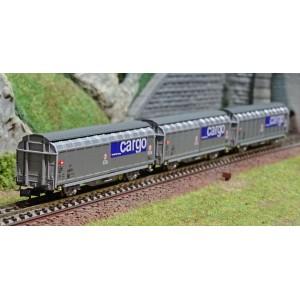 MiniTrix 15282 Set de 3 wagons à parois coulissantes, SBB, Cargo, échelle N