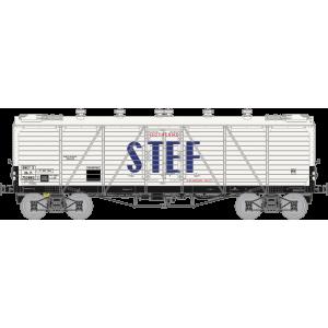 Ree modeles WB-584 Wagon TP FRIGO Reconstruit, Trappes à glace et Aérateurs, SNCF, STEF lettres Bleues, ep. III