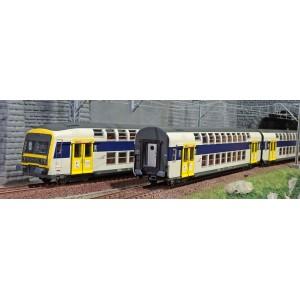 ViTrains 1124L Set de 3 voitures voyageurs VB2N SNCF, livré fuscia Nord Pas de Calais, Logo casquette, avec éclairage