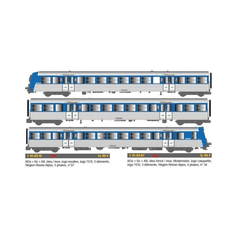 Epm 41.49.07 Rame Réversible Régional SNCF, RRR Rhones Alpes, bleu / inox, modernisé, logo casquette, n°34