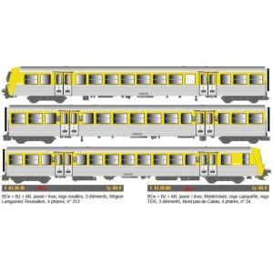EPM 41.19.16 Rame Réversible Régional SNCF, RRR Languedoc Roussillon, jaune / inox, logo nouilles, n°313