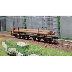 Roco 76405 Set de 2 wagonnets à traverse pivotante, chargé bois, K.P.E.V.