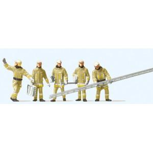 Preiser 10770 Personnages, Pompiers uniforme beige, à leur arrivée sur d'incendie