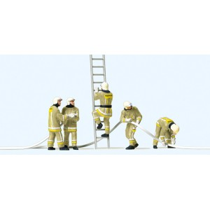 Preiser 10771 Personnages, Pompiers uniforme beige, en opération contre incendie