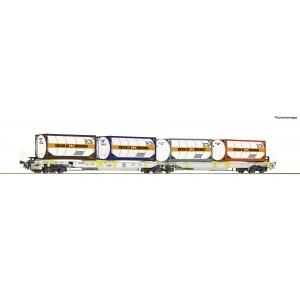 """Roco 76438 Wagon-poche articulé double, AAE, chargés conteneurs citerne """"Bertschi"""""""