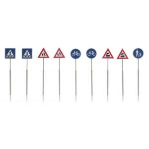 Artitec 387.215 Set de 9 panneaux de signalisation : piéton, vélo, train