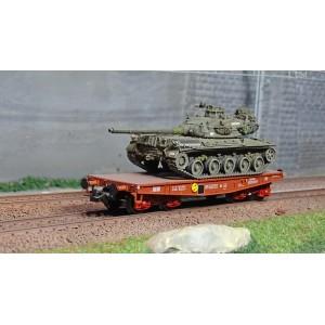 "Ree modeles WBA-024 Wagon porte-char, Rlmmp, SNCF + char AMX 30B 1DB ""BRETAGNE"""