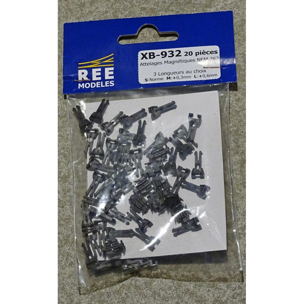 REE Modeles XB-932 Attelage à AIMANT NEM362, 3 Tailles S/M/L (10 paires)