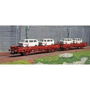 Rivarossi HR6458 Set de 2 wagons type Kls, DB, chargé 4 camionnettes Volkswagen T2