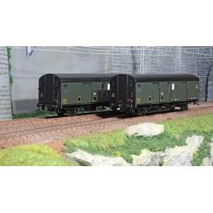 Models World 30301 Set de 2 Wagons fourgons, SNCF, Dqd2m, Vert 306, marquage 1950, feux fin de convoi