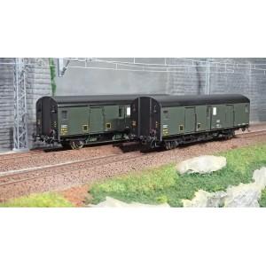 Models World 30303 Set de 2 Wagons fourgons, SNCF, Dqd2m, Vert 306, marquage 1956, feux fin de convoi