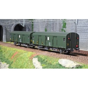 Models World 30305 Set de 2 Wagons fourgons, SNCF, Dqd2m, Vert 301, marquage 1956, feux fin de convoi