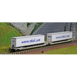 REE Modeles NW179 Wagons kangourou articulés type Sdggmrs AAE, 2 remorques EKOL Logistic