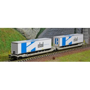 REE Modeles NW180 Wagons kangourou articulés type Sdggmrs AAE, 2 remorques EKOL Logistic