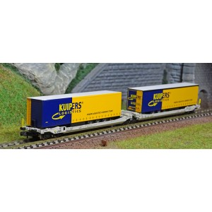 REE Modeles NW181 Wagons kangourou articulés type Sdggmrs AAE Cargo AG, 2 remorques KUIJPERS Logistic