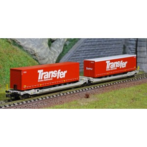 REE Modeles NW185 Wagons kangourou articulés type Sdggmrs AAE, 2 remorques TRANSFER