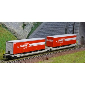 REE Modeles NW186 Wagons kangourou articulés type Sdggmrs AAE Hupac Intermodal, 2 remorques TRANSFER