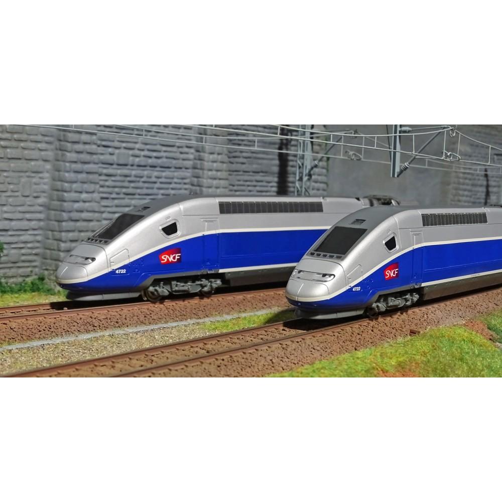 Jouef HJ1061 Coffret de départ TGV Duplex SNCF, bleu/gris, logo Carmillon, 4 éléments, gamme junior
