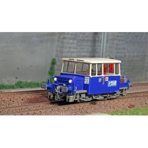 Ree Modeles MB-110.S Draisine DU65, brosseuse bleu et blanc, phare à pincettes, Sud-Est, avec grue, Digital sonore