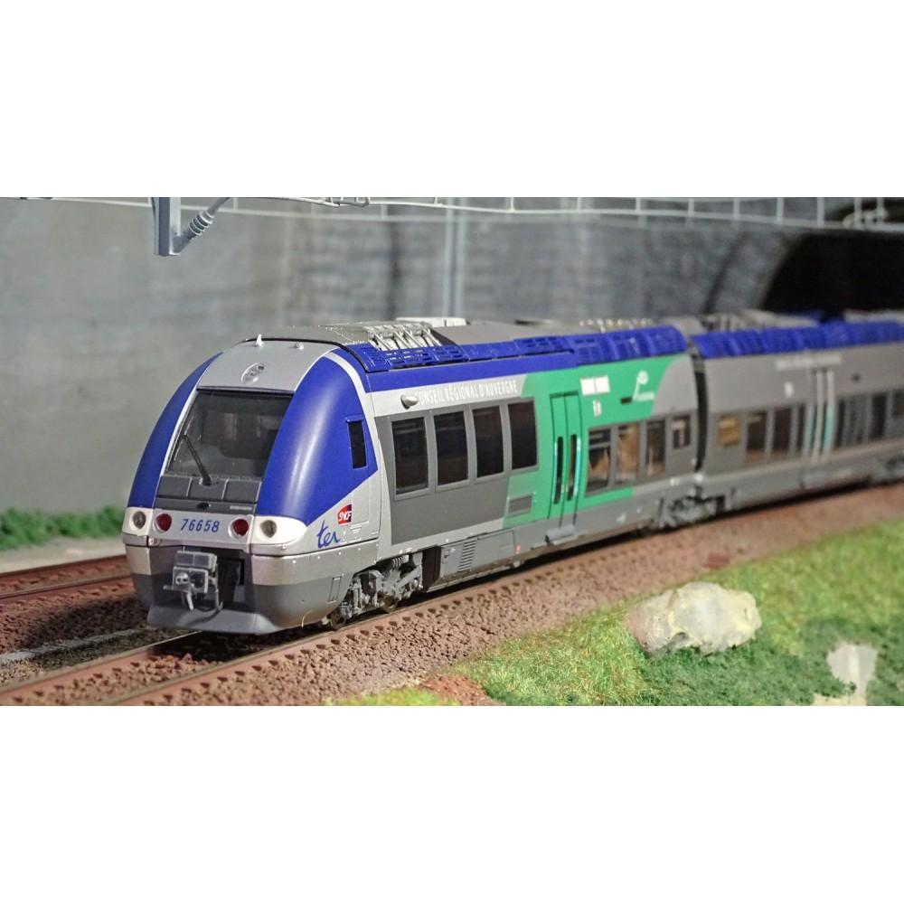 LS Models 10073 Autorail AGC X 76657, Bleu gris / Vert, Augervne