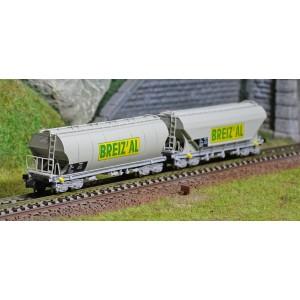 Arnold HN6470 Set de 2 wagons trémies à bogies, SNCF, BREIZ'AL, échelle N