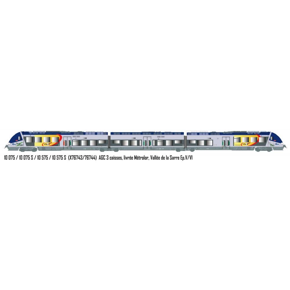 LS Models 10075S Autorail AGC X 76743, 3 caisses, livrée Métrolor, Vallée de la Sarre, digital sonore