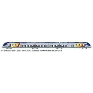 LS Models 10075 Autorail AGC X 76743, 3 caisses, livrée Métrolor, Vallée de la Sarre