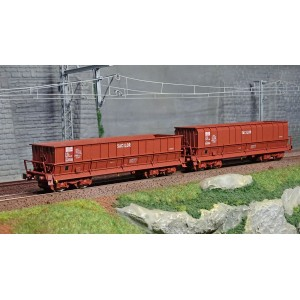 Ls Models 30800 Set de 2 wagons tombereaux, SNCF, DM / DMH rouge UIC, SACILOR