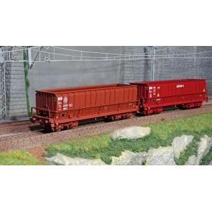Ls Models 30805 Set de 2 wagons tombereaux, SNCF, DMH rouge UIC, VTG / SOGEWAG