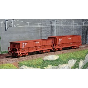 Ls Models 32300 Set de 2 wagons tombereaux, SNCB, DM / DMH rouge UIC, SACILOR