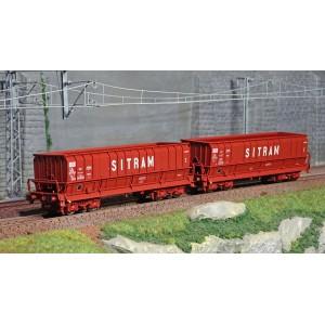 Ls Models 32301 Set de 2 wagons tombereaux, SNCB, DMH rouge UIC, SITRAM