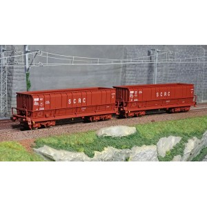 Ls Models 32302 Set de 2 wagons tombereaux, SNCB, DMH rouge UIC, SCRC