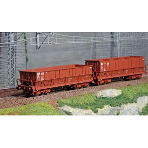 Ls Models 32303 Set de 2 wagons tombereaux, SNCB, DM / DMH rouge UIC, SACILOR
