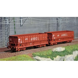 Ls Models 90802 Set de 2 wagons tombereaux, SNCF, DMH rouge UIC, ARBEL