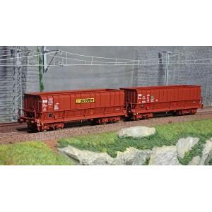 Ls Models 90804 Set de 2 wagons tombereaux, SNCF, DMH brun, SIMOTRA - SOGEWAG