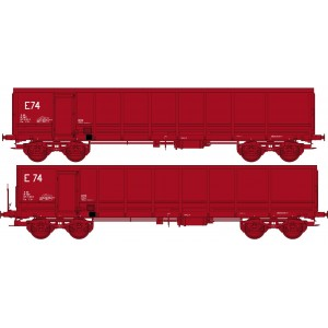 Ree modeles Sud-Express WBSE-012 Set de 2 Wagons Tombereaux FAS, rouge, Bogie Y25, SNCF, E74