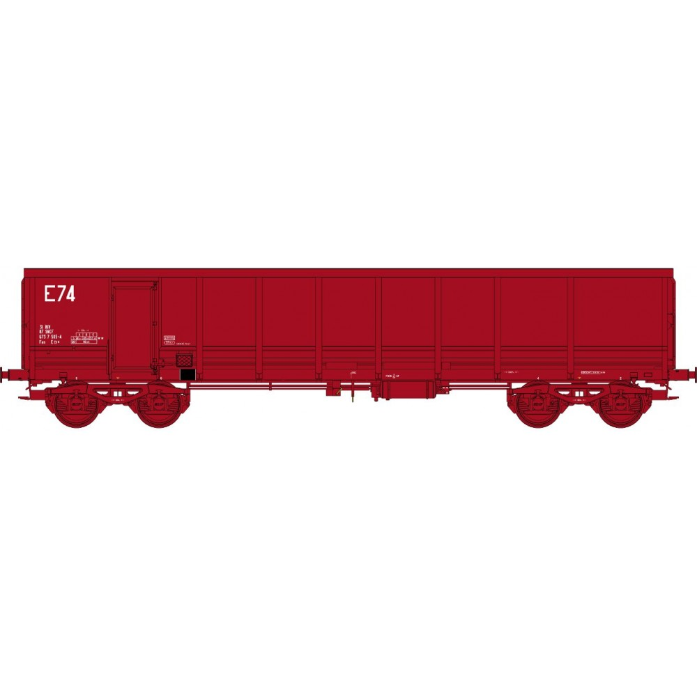 Ree modeles Sud-Express WBSE-013 Wagon Tombereau FAS, rouge 606, Bogie Y25, SNCF