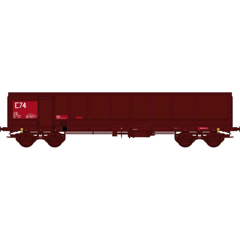 Ree modeles Sud-Express WBSE-015 Wagon Tombereau FAS, rouge et brun, Bogie Y25, SNCF, E74