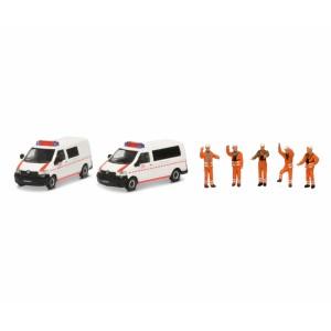 Schuco 452655500 Set de 2 véhicules Volkswagen DB Notfall et 5 personnages
