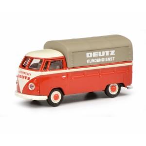 "Schuco 452641000 Volkswagen T1b pick-up rouge bâché, ""Deutz Service"""