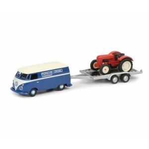 """Schuco 452632800 Volkswagen T1c """"Porsche-Diesel"""" avec remorque et tracteur Porsche junior"""