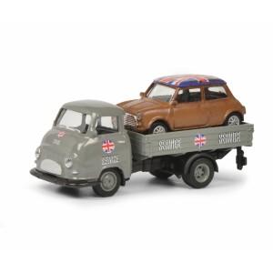 Schuco 452649000 Unimog Pick-up gris Mini-Service, chargé Mini cooper