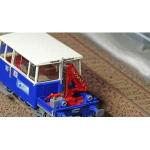Ree Modeles MB-110 Draisine DU65, brosseuse bleu et blanc, phare à pincettes, Sud-Est, avec grue