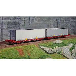 SudExpress SUTF61717 Double wagon porte conteneur Laagrss, Transfesa chargé 2 conteneurs