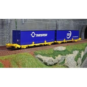 SudExpress Sud SUTF27017 Double wagon porte conteneur Laagrss, Transfesa, jaune chargé 2 conteneurs bleus