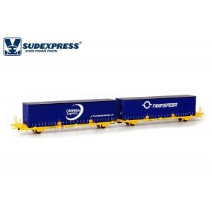 SudExpress Sud SUTF27017 Double wagon porte conteneur Laagrss, Transfesa et  OMFESA, jaune chargé 2 conteneurs bleus