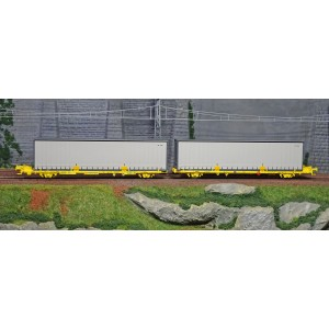 SudExpress Sud SUTF26317 Double wagon porte conteneur Laagrss, Transfesa, jaune chargé 2 conteneurs gris sans marquages