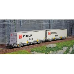 SudExpress Sud SURM03417 Double wagon porte conteneur Laagrss, Renfe, gris chargé 2 conteneurs DB Schenker