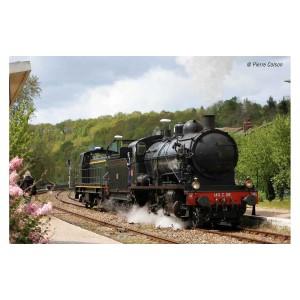 Jouef HJ2406S Locomotive à vapeur 140 C 38, tender 18 B 22, EST, livrée noir, ligne rouge, SNCF, digitale sonore