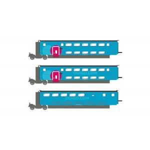 Jouef HJ3009 Set de 3 voitures intermédiaire TGV Duplex OuiGo SNCF, 1ere, 2eme classe et bar